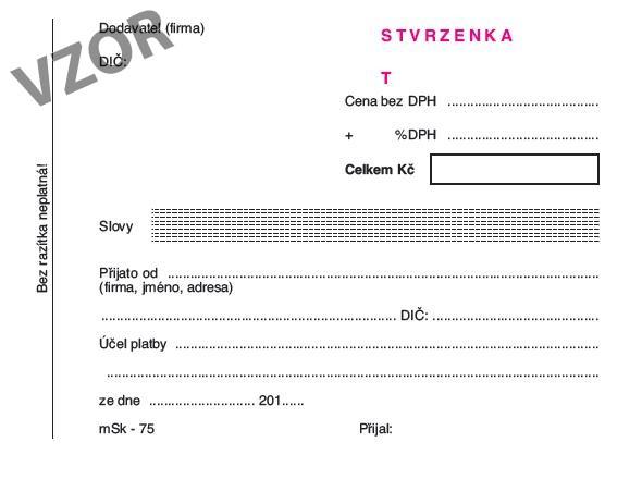 mSk 75 - Stvrzenka A6 čísl. NCR