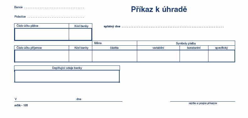 mSk 101 -Příkaz k úhradě 1/3 A4 NCR 100L