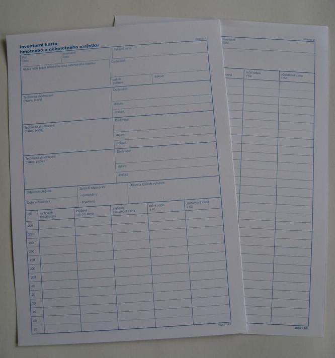 mSk 161 - Inv.karta hmot.majetku A4