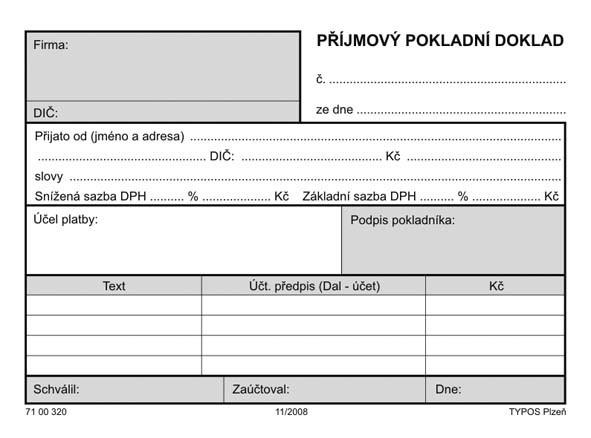 POKLADNÍ DOKLAD PŘÍJMOVÝ - 60g       100L