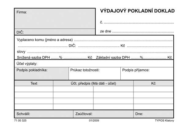 POKLADNÍ DOKLAD VÝDAJOVÝ-60g  100L
