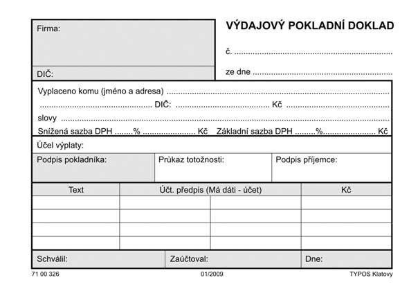 POKLADNÍ DOKLAD VÝDAJOVÝ-COPY     100L