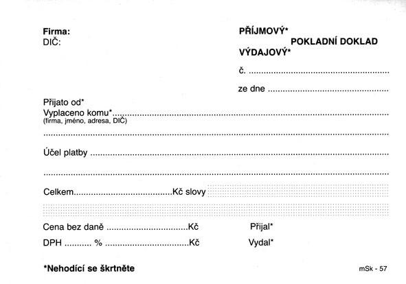 mSk 57 - UNIVERZÁLNÍ PŘÍJMOVÝ - VÝDAJOVÝ DOKLAD-COPY 100L