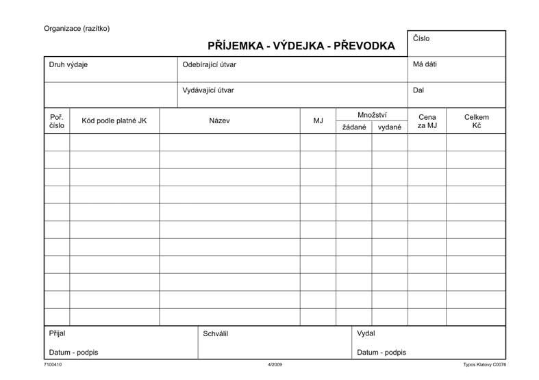 VÝDEJKA-PŘEVODKA-PŘÍJEMKA  A5,COPY 100L