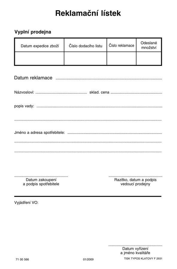 REKLAMAČNÍ LÍSTEK A5-COPY 100L