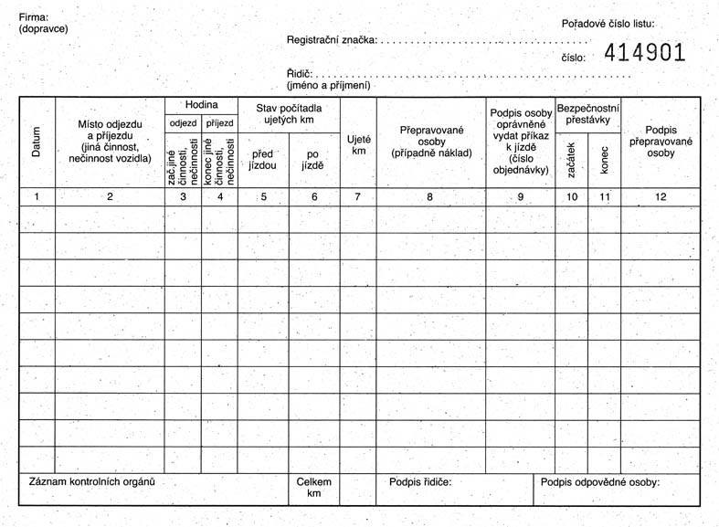 mSk 322 - STAZKA OSOBNÍ DOPRAVY-číslovaná  100L