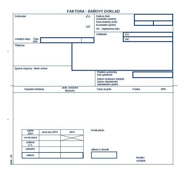 mSk 39 - Faktura 2/3 A4 s tab.na DPH NCR