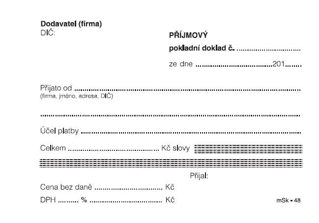 mSk 48 - Příjmový pokl.dokl.A6 nečísl.