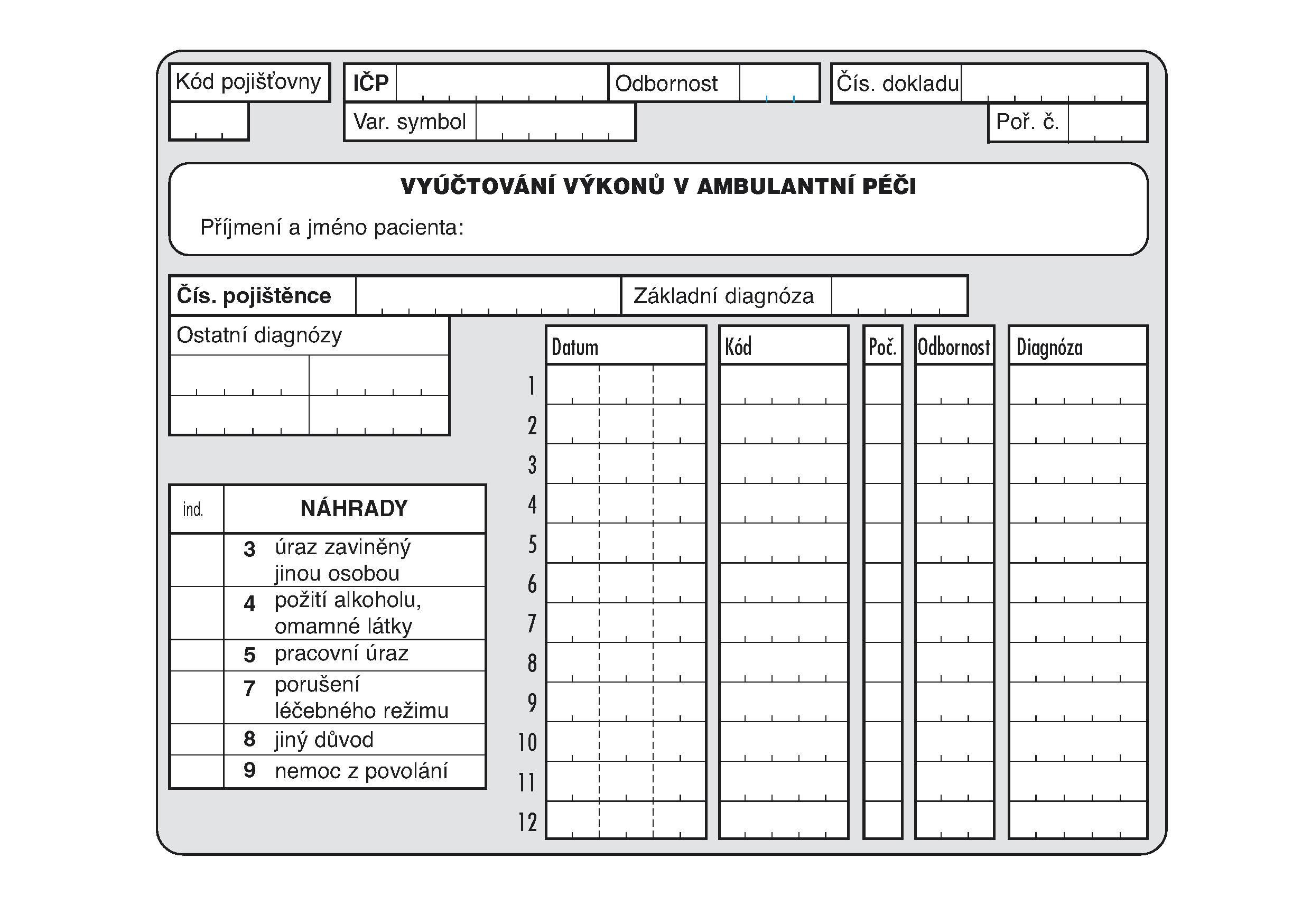 01B-Vyúčtování výkonu v ambulantní péči